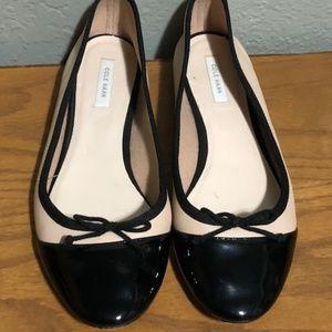 Cole Haan Nude w/Black Patent Toe Cap Ballet Flat
